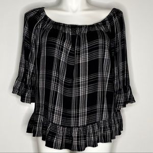 beachlunchlounge  black plaid peplum top